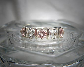 Natural Pink Tourmaline and Natural White Topaz Sterling Silver .925 Ring Size 7