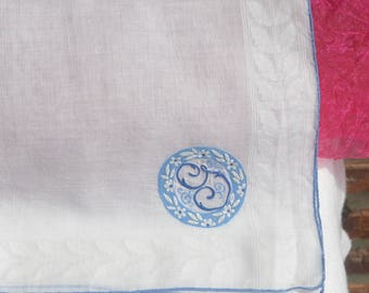G Initial Handkerchief - Linen, England, Blue Embroidery - Vintage - Gorgeous!
