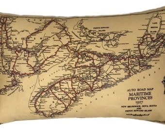 Nova Scotia and New Brunswick Vintage Map Pillow - FREE SHIPPING