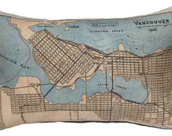 Vancouver Vintage Map Pillow - FREE SHIPPING