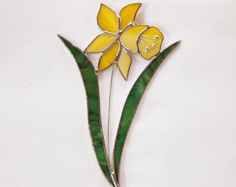 Stained Glass Yellow Daffodil Suncatcher