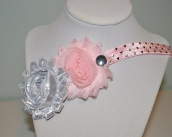 Pink and Gray Elastic Infant Headband