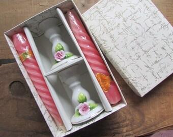 Candlestick Holders Vintage Porcelain Pink Candles NIP