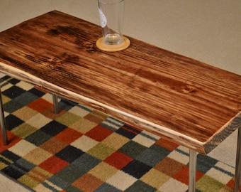 Metal leg coffee table, red mahogany stain