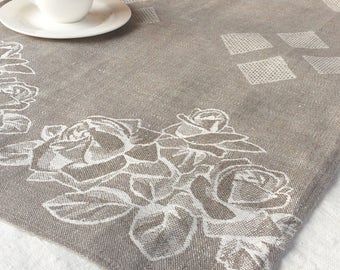 Linen table runner with roses, taupe jacquard pattern floral kitchen decor, rustic natural linen runner with squares