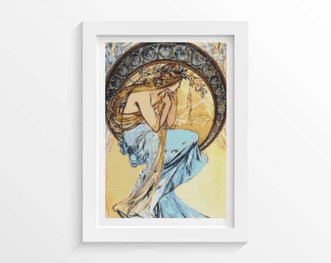 Cross Stitch Pattern PDF, Embroidery Chart, Art Cross Stitch, Woman Cross Stitch, Poetry by Alphonse Mucha (MUCHA13)