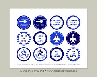 "Air Force Cupcake Toppers Printable: 2"" Party Circles - Farewell Good-bye Party Decoration, Going Away Military Bootcamp Deployment Download"