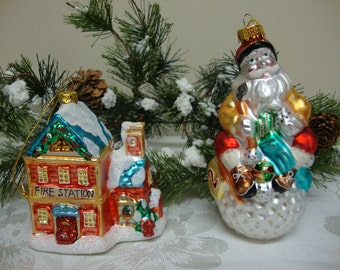 Glass Fire Station and Snowman Christmas Ornaments (2)