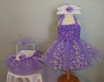 Girls Purple Flower Easter Tutu Dress with Easter Basket & Headband