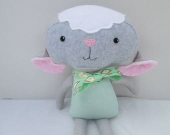 Lamb Soft doll, gender neutral, gray and mint, Ready to Ship, baby lamb, stuffed lamb, lamb softie, farm toy, Easter gift for toddlers