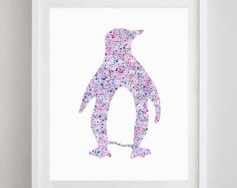 Penguin Floral Watercolor Art Print - Theta Phi Alpha