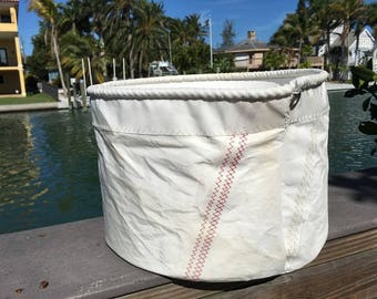 XLG Sail Storage tote with stiffiner from Recycled Sail Cloth, Bucket Bag, one-of-a-kind