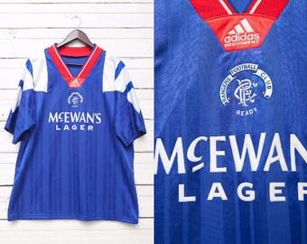 Vintage Blue Sports Tshirt / 90s Vintage Blue Red White Short Sleeve Soccer Football Top / Large Size Men Sports Team Shirt / Adidas Sports