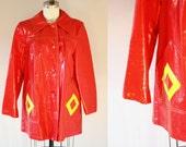 1960s red plastic rain coat // vinyl rain coat // vintage coat