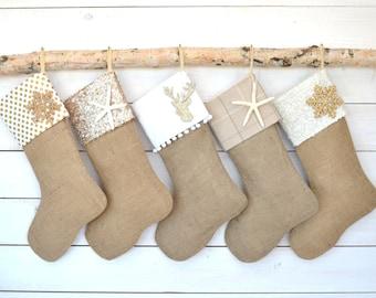 Family Christmas Stocking - Set of 5 - Christmas Stockings, Stockings, Burlap Stockings, Neutral Stockings
