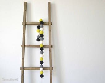 Large 4cm Felt Ball Garland - Black, Chartreuse, White and Gray - Party, Kids Room, Nursery Decor, Home Decor