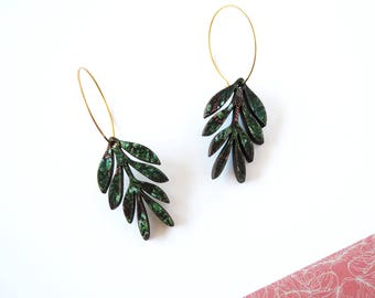 Plant Hoop Earrings - Botanical Jewellery - Delicate Earrings - Colour Of The Year - Tropical Foliage - Tropical Leaf Jewellery - Leaf Print