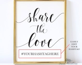 Share the Love Printable Hashtag Sign   Share the Love Print   Printable   Instagram Sign   Hashtag Signs   Editable Hashtag Sign - P5