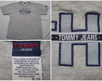 Vintage Retro Men's 90's Tommy Jeans Tee Shirt Grey Hilfiger Spellout Blue White Short Sleeve Distressed XL