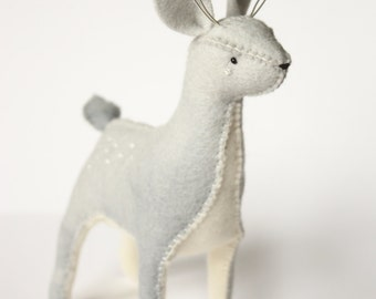 Felt Deer Doe or Stag Toy made from 100% wool felt