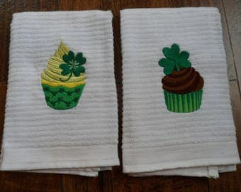 Set of Two Kitchen Bar Mop Towels with Embroidered Saint PATRICK'S Day SHAMROCK CUPCAKES