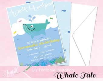Whale Tale Birthday Party Printable Invitation