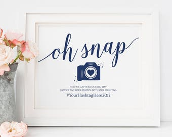 Navy Wedding Social Media Sign // Oh Snap Wedding Sign // Editable Hashtag Sign, Navy Wedding Signs // Instant Download