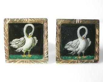 Square Enamel Vermeil 800 Silver Swan Cufflinks