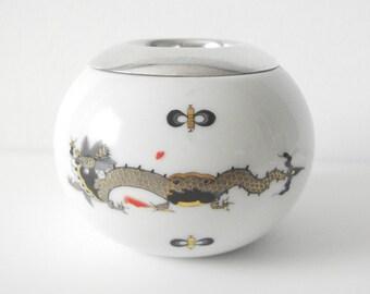 Meissen Porcelain Dragon Match Striker With Sterling Silver Insert