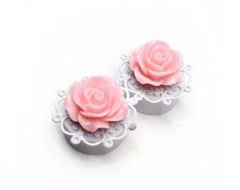 """SALE 20mm (3/4"""") Pink Rose Filigree Ear Plugs"""