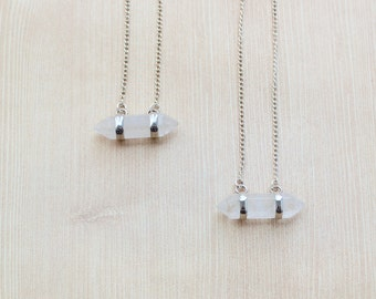 Horizontal Double Point Crystal Quartz Pendant Necklace in Silver