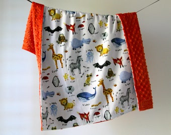 Baby Blanket, Alphabet Jungle Animals with Tomato Orange Minky Dot