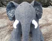 "Custom for Diana: Grey Plush Elephant - ""Galaxy"""