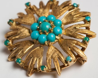Turquoise and 18K Gold Pin