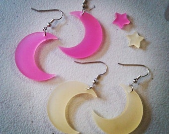 Kawaii Large Dangle Crescent Moon Earrings Pink & Citrus POP Colors