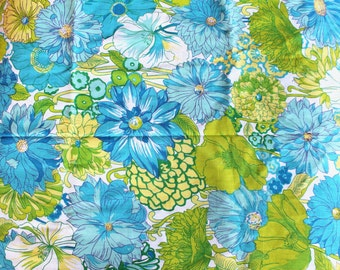 Vintage 1960s Fabric: Blue and Green Mod Floral Cotton- 2+ Yards