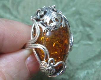Baltic Amber with Frog Sterling Ring Size 7