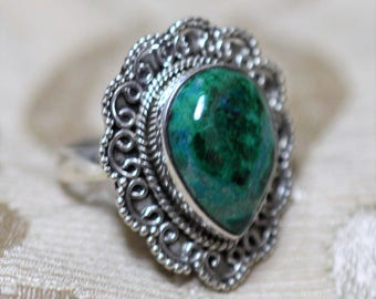 Chrysocolla Sterling Silver Ring Size 7 1/2