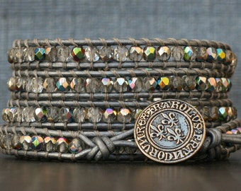 wrap bracelet- crystal czech glass on silver leather- beaded leather 5 wrap bracelet