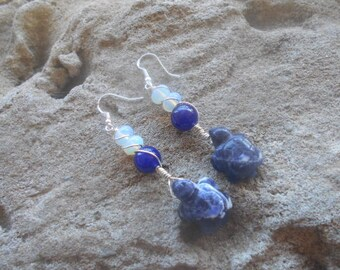 Sodalite turtles wrapped in sterling with lapis and opalite earrings