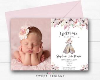 BIRTH ANNOUNCEMENT Girl, Tribal Birth Announcement, Baby Thank you Card, Baby Thank you Card Tribal, Teepee Birth Announcement Girl,New Baby