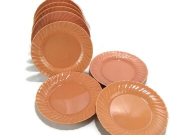Vintage Franciscan Coronado Luncheon Plates * Like New Set of 8 * Coral Beige