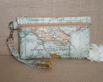 Cell Phone Wallet, Wristlet Wallet, Cell Phone Clutch with Removable Strap in World Map Print