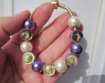 EASTER Sale! Religious european Gold plated bracelet w. colorful JESUS images & fx PEARL euro beads!