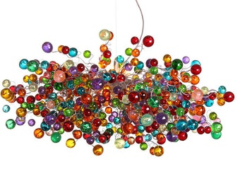 Hanging chandeliers with multicolored bubbles - rainbow light fixture for dinning room, living room or open space.