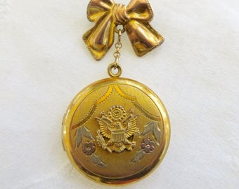 Gold Filled Military Locket,  WW ll US Army Locket, Vintage Sweetheart Locket. Military Jewelry