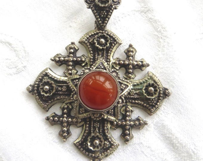 Vintage Jerusalem Cross Pendant, Carnelian Center Stone, 800 silver, Maltese Cross, Malta Cross