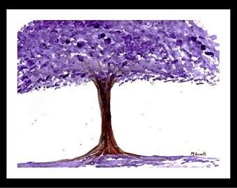 Purple flowers Purple tree painting Purple painting Original painting Purple watercolour Purple illustration, wall art, gift for her