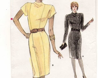 A Semi-Fitted, Raised Neckline, Princess Seam, Long/Short Sleeve Straight Dress Sewing Pattern for Women: Uncut- Sizes 12-14-16 • Vogue 7114