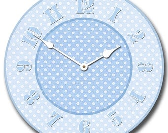 Baby Blue Dotted Swiss Wall Clock